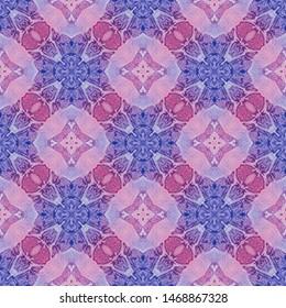 Red blue medallion allover seamless pattern. Hand drawn watercolor ornament. Bizarre repeating design. Favorable fabric cloth, swimwear design, wallpaper wrapping.