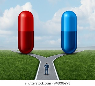 Red and blue pill choice as a person at a crossroad looking at medication capsules as a symbol of choosing truth or illusion or knowledge or ignorance or pharmaceutical option icon with a 3D render.