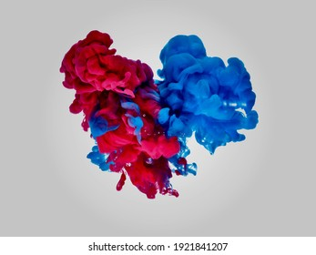 Red and blue smoke clouds on simple white background 3d illustration
