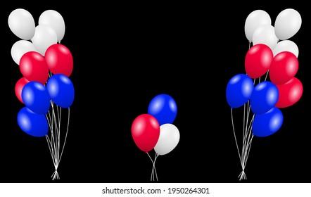 Rote, blaue und weiße Flugballons.