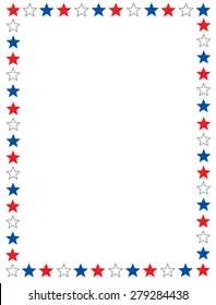 Red blue and white stars 4th of july border / frame