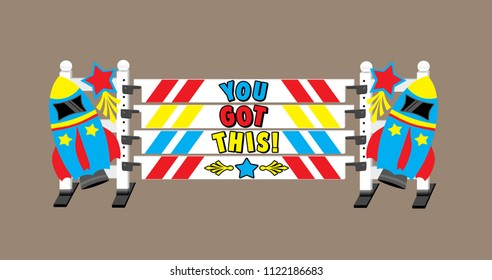 """Red, blue, and yellow horse show jump with cartoon words saying """"you got this"""" on the planks, and rocket ships and shooting stars on the jump standards."""