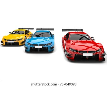 Red, blue and yellow modern super race cars - side by side - front view - 3D Illustration