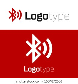 Red Bluetooth connected icon isolated on white background. Logo design template element.