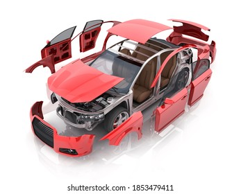Red body car and interior parts on white background. 3d illustration