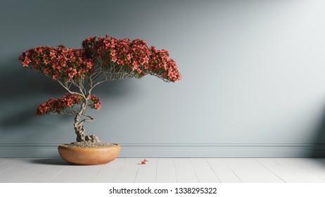 Red bonsai near the wall. 3d illustration