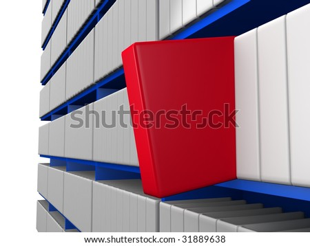 Red Book Pull Out From The Bookshelf 3d Illustration