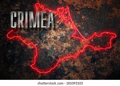 Red borders of Crimean peninsula over grunge background