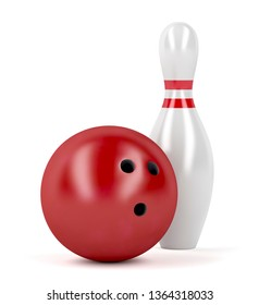 Red bowling ball and pin on white background, 3D illustration