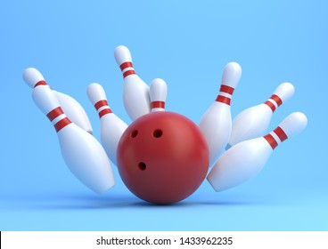 Red Bowling Ball and scattered white skittles isolated on blue background. Realistic game set. 3D rendering illustration