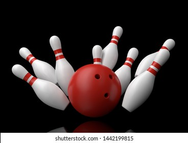 Red Bowling Ball and scattered white skittles isolated on black background. Realistic game set. 3D rendering illustration