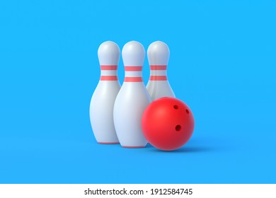 Red bowling ball and white pins on blue background. Active sport. Hobby and leisure. Competition and championship. 3d rendering