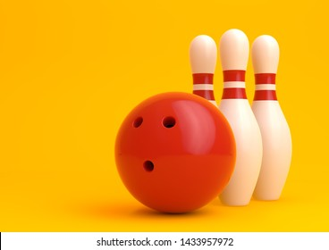 Red Bowling Ball and white skittles isolated on yellow background. Realistic game set. 3D rendering illustration