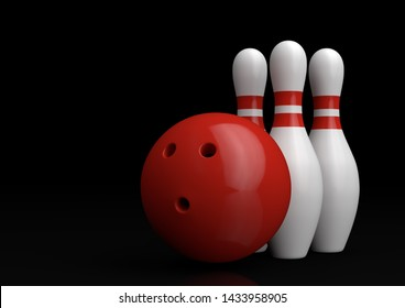 Red Bowling Ball and white skittles isolated on black background. Realistic game set. 3D rendering illustration