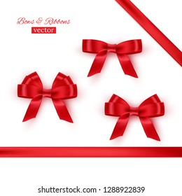 Red bows and ribbons. Realistic design elements set. Raster copy.
