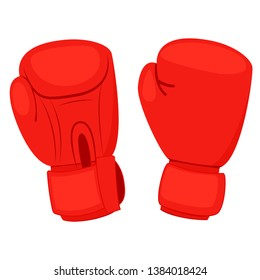 Red boxing gloves. Clipart image isolated on white background