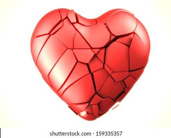 red breaked heart