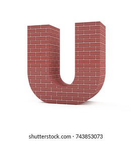 Red Brick Alphabet isolated on white background (Letter U). 3D Rendering