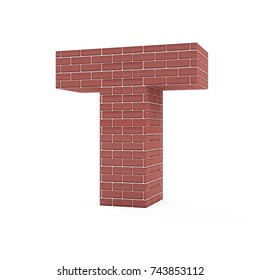 Red Brick Alphabet isolated on white background (Letter T). 3D Rendering