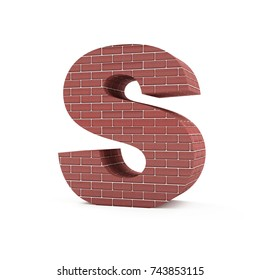 Red Brick Alphabet isolated on white background (Letter S). 3D Rendering