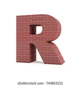 Red Brick Alphabet isolated on white background (Letter R). 3D Rendering