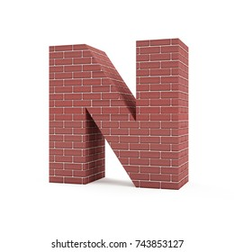Red Brick Alphabet isolated on white background (Letter N). 3D Rendering