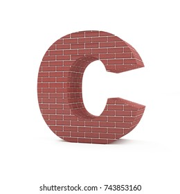 Red Brick Alphabet isolated on white background (Letter C). 3D Rendering