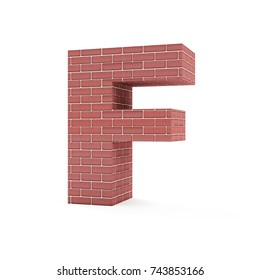 Red Brick Alphabet isolated on white background (Letter F). 3D Rendering