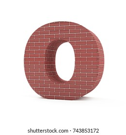 Red Brick Alphabet isolated on white background (Letter O). 3D Rendering