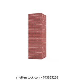 Red Brick Alphabet isolated on white background (Letter I). 3D Rendering