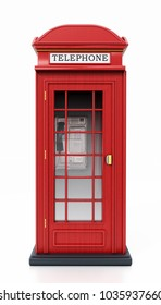 Red British phone booth isolated on white background. 3D illustration.