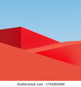 Red building on sky background. Minimal architecture Ideas concept. 3D Render.
