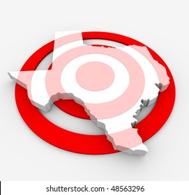 A red bulls-eye with a map of Texas state on it