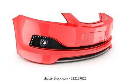 Red bumper, spare car on white background. 3d illustration