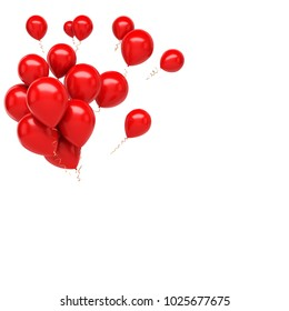Red bundle of baloons on the top left corner isolated on white background. 3D illustration of celebration, party baloons