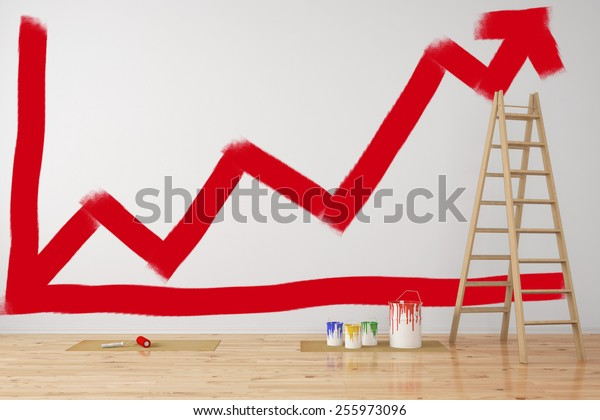 Red business graph going up on wall during office renovation (3D Rendering)