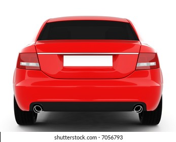 Red Business-Class Car On a White Background