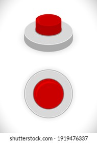 red button 3d icon isolated on white