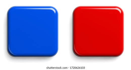Red Button and Blue Button. Square Shiny Pushbuttons Isolated on White. Clipping path included. 3D illustration.