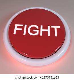 "Red button ""FIGHT"" displayed on button, negative action concept, immediate action, anger, self defense, attack, take an offensive position. fighting enemy concept, struggle, 3D Rendering Illustration"