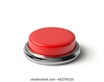 Red button isolated on white. 3D rendering with clipping path