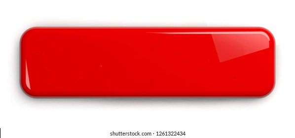 Red Button. Rectangular Shiny Plate Isolated on White. Clipping path included. 3D illustration.