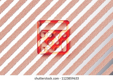 Red Gift Icon On Gray Stripe Stock Illustration 1124088938