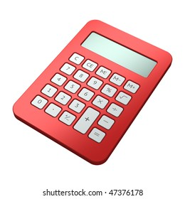 Red calculator on white background