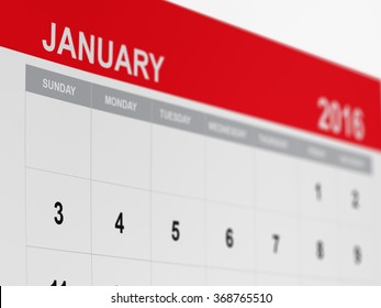A red calendar page with selective focus on january 2016. Great use for time management and planing concepts.