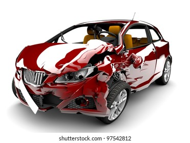 A red car in an accident isolated on a white background
