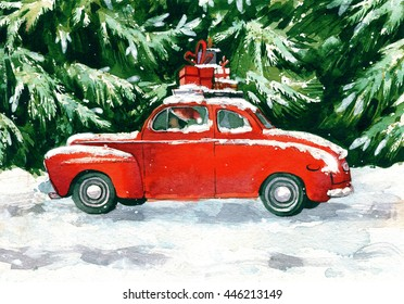 Red car with christmas gifts on the roof in green forest. Hand drawn greening card.