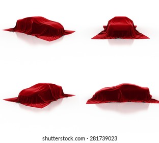 red car covered cloth