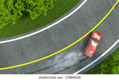 red car enters the turn with skid.