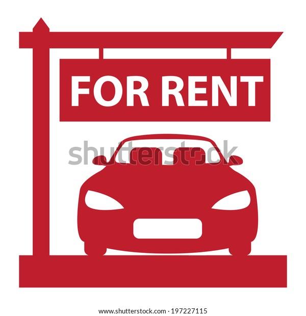 Red Car Hire Car Rental Service Stock Illustration 197227115